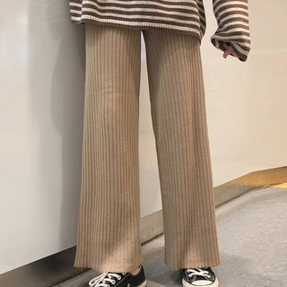 Wide-Leg Ribbed Knit Pants from Ashlee