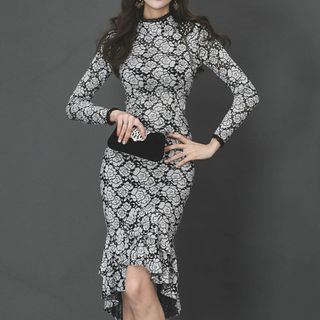 Floral Print Long-Sleeve Midi Mermaid Sheath Dress from Aurora