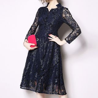 Long-Sleeve A-Line Lace Dress from Aurora