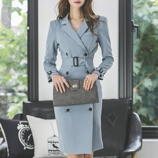 Long-Sleeve Double-Breasted Sheath Coat Dress from Aurora