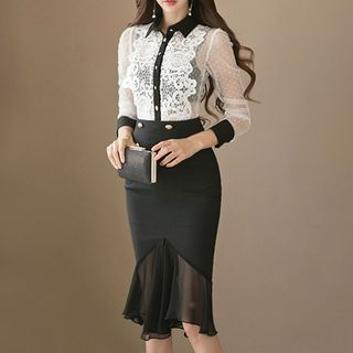 Set: Lace Shirt + Mermaid Midi Skirt from Aurora