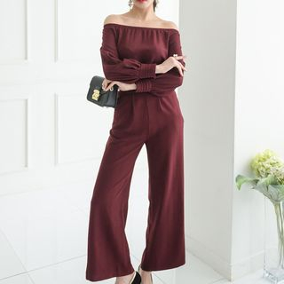 Set: Off Shoulder Long-Sleeve Top + Wide Leg Pants from Aurora