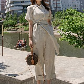 Short-Sleeve Jumpsuit with Sash from Aurora