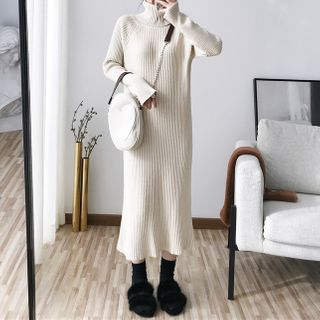 Turtleneck Long-Sleeve Midi Knit Dress from Aurora