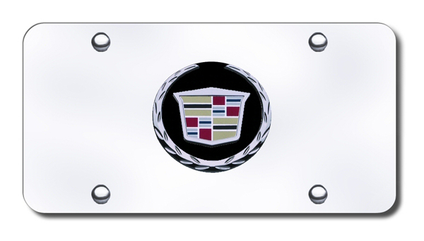 3D Chrome Cadillac Colored & Black Logo Stainless Steel License Plate from Automotive Gold