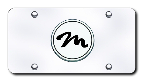 3D Chrome & Black Mazda Miata Logo Stainless Steel License Plate from Automotive Gold