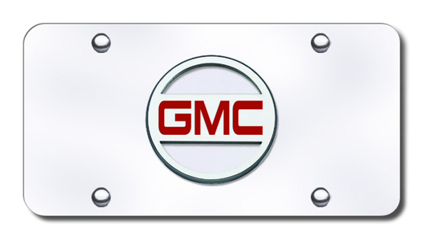 3D Chrome & Red GMC Logo Stainless Steel License Plate from Automotive Gold
