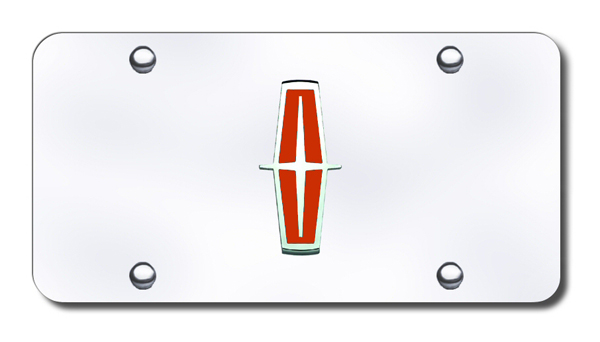 3D Chrome & Red Lincoln Logo Stainless Steel License Plate from Automotive Gold