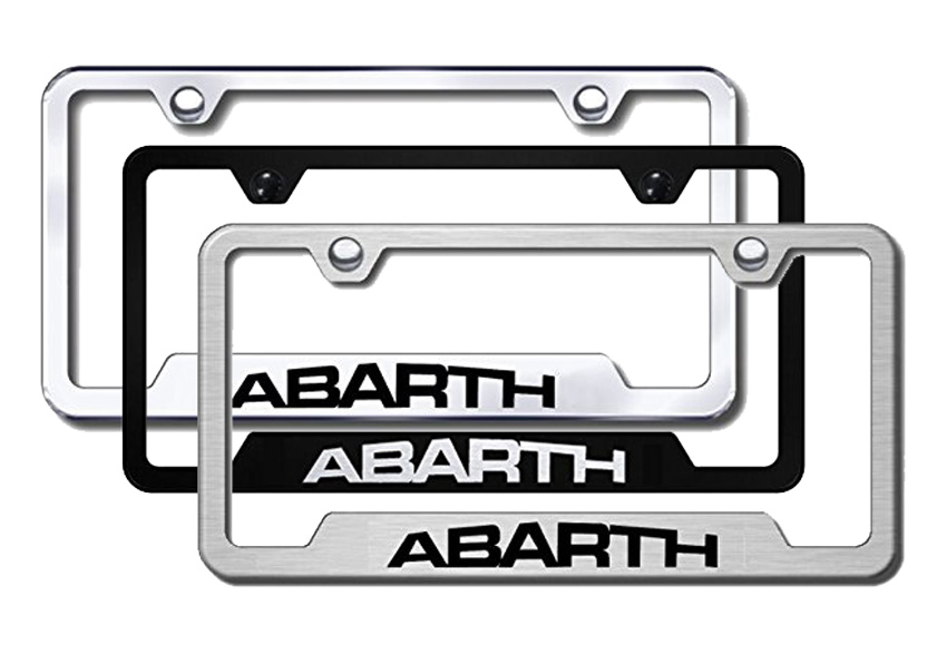 Abarth Laser Etched Stainless Steel Cut-Out Frame -  Black from Automotive Gold