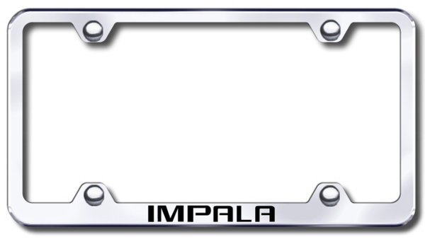 Chevy Impala Laser Etched Stainless Steel Wide License Plate Frame from Automotive Gold