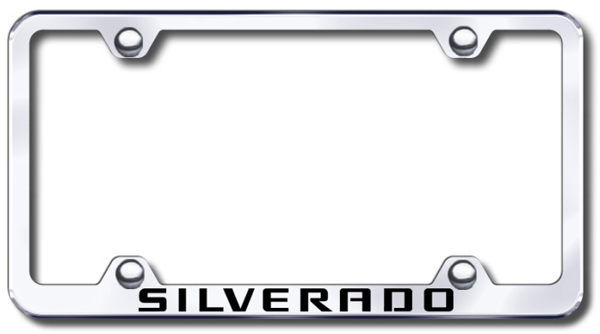 Chevy Silverado Laser Etched Stainless Steel Wide License Plate Frame from Automotive Gold