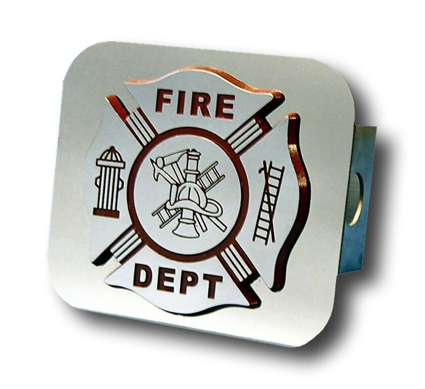 Chrome Fire Department Logo Stainless Steel Hitch Plug from Automotive Gold