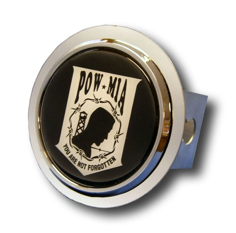 Chrome POW/MIA Stainless Steel Hitch Plug from Automotive Gold