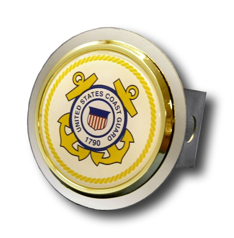 Chrome U.S. Coast Guard Logo Gold Trim Stainless Steel Hitch Plug from Automotive Gold