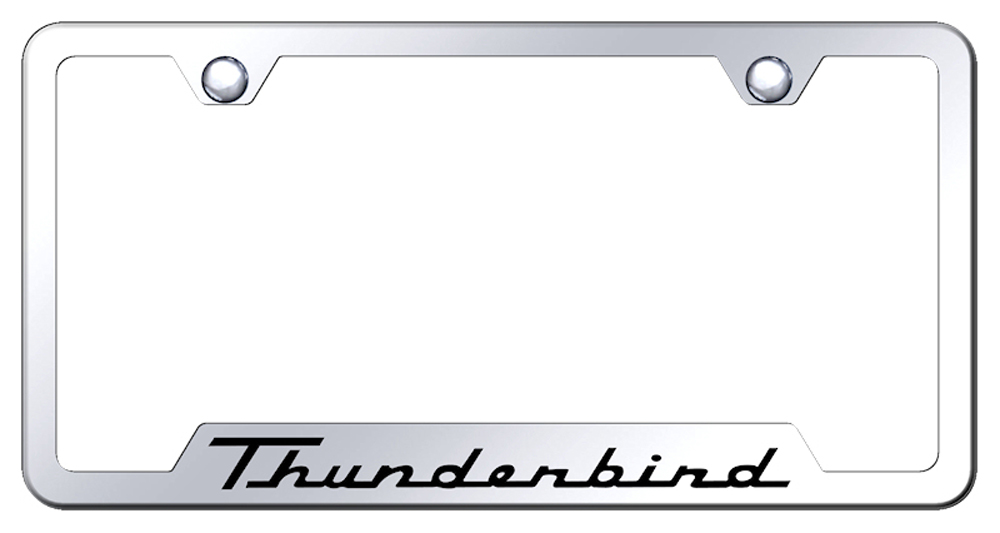 Ford Thunderbird Laser Etched Mirrored Stainless Steel Cut-Out License Plate Frame from Automotive Gold