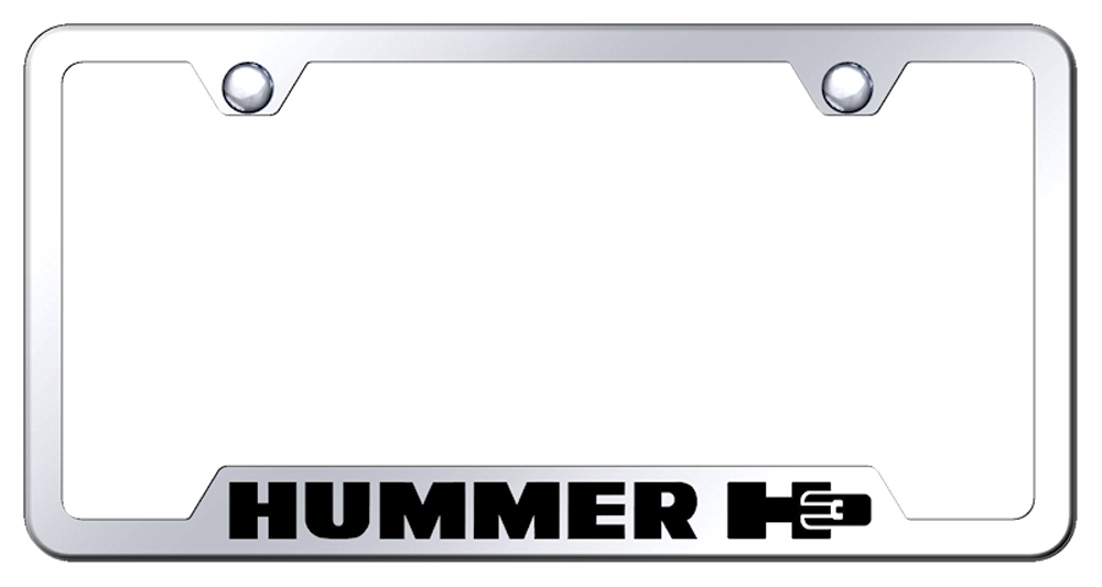 Hummer H3 Laser Etched Mirrored Stainless Steel Cut-Out License Plate Frame from Automotive Gold