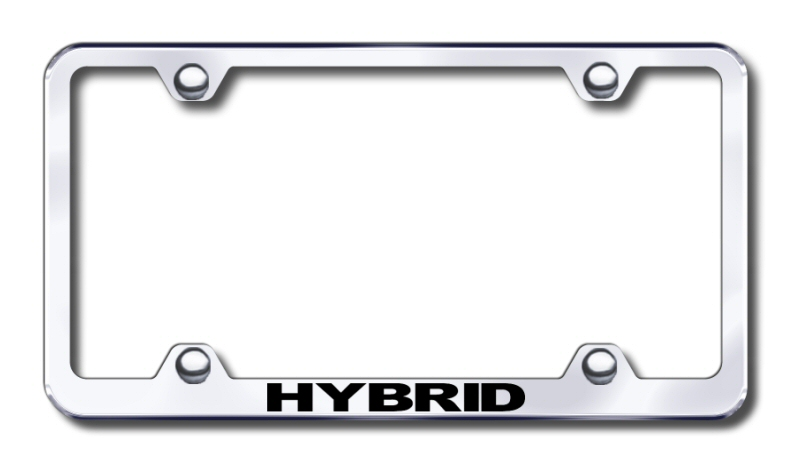 Hybrid Vehicle Laser Etched Stainless Steel Wide License Plate Frame from Automotive Gold