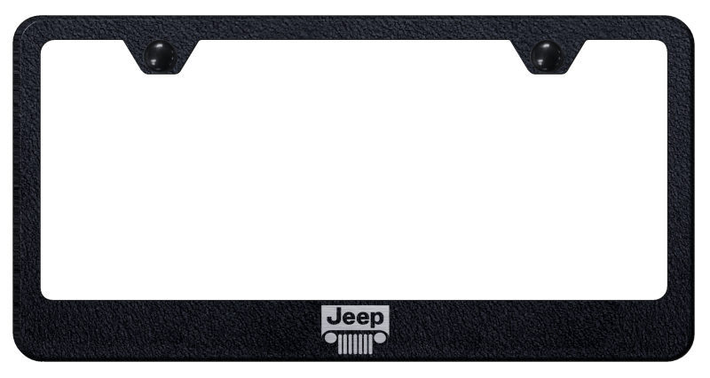 Jeep Grill Laser Etched Textured Black Stainless Steel Frame from Automotive Gold