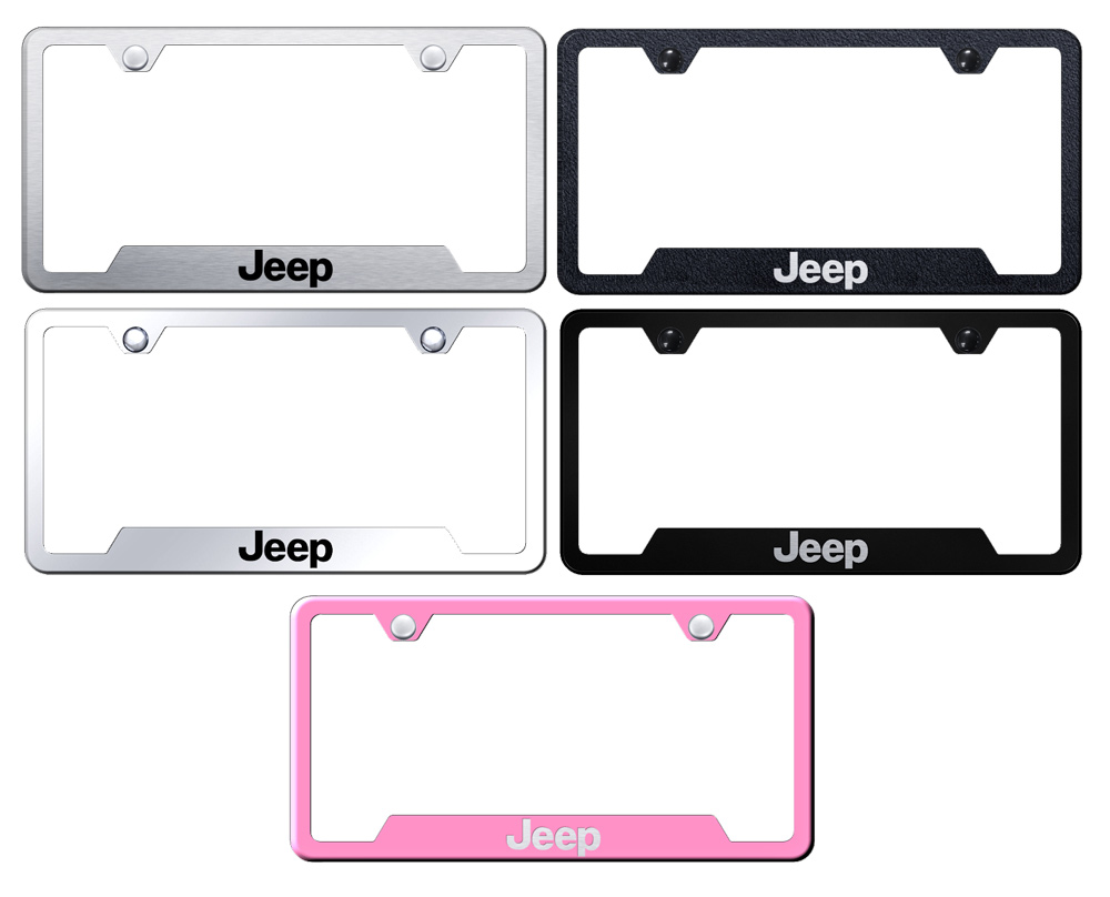 Jeep Laser Etched Stainless Steel Cut-Out Frame -  Pink from Automotive Gold