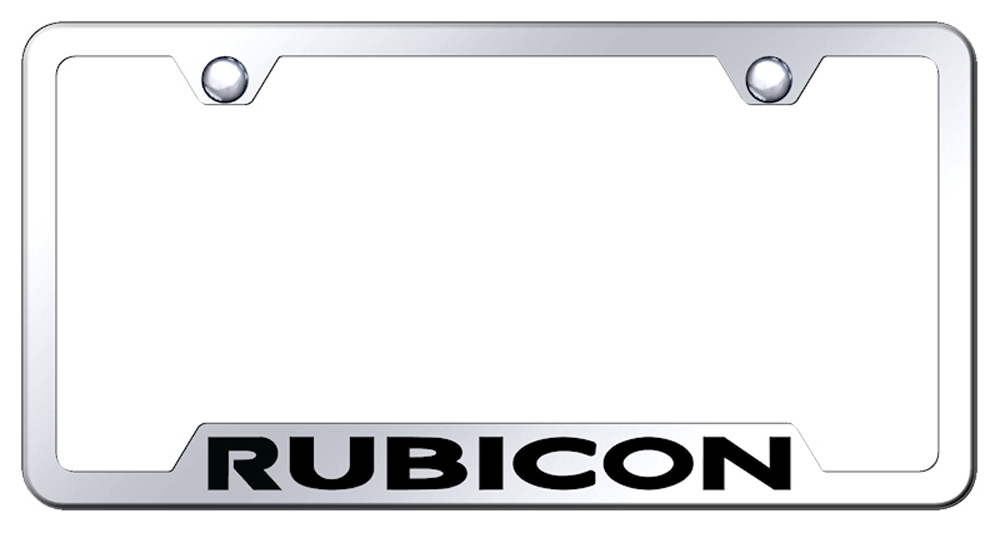 Jeep Rubicon Laser Etched Stainless Steel Cut-Out License Plate Frame -  Black from Automotive Gold