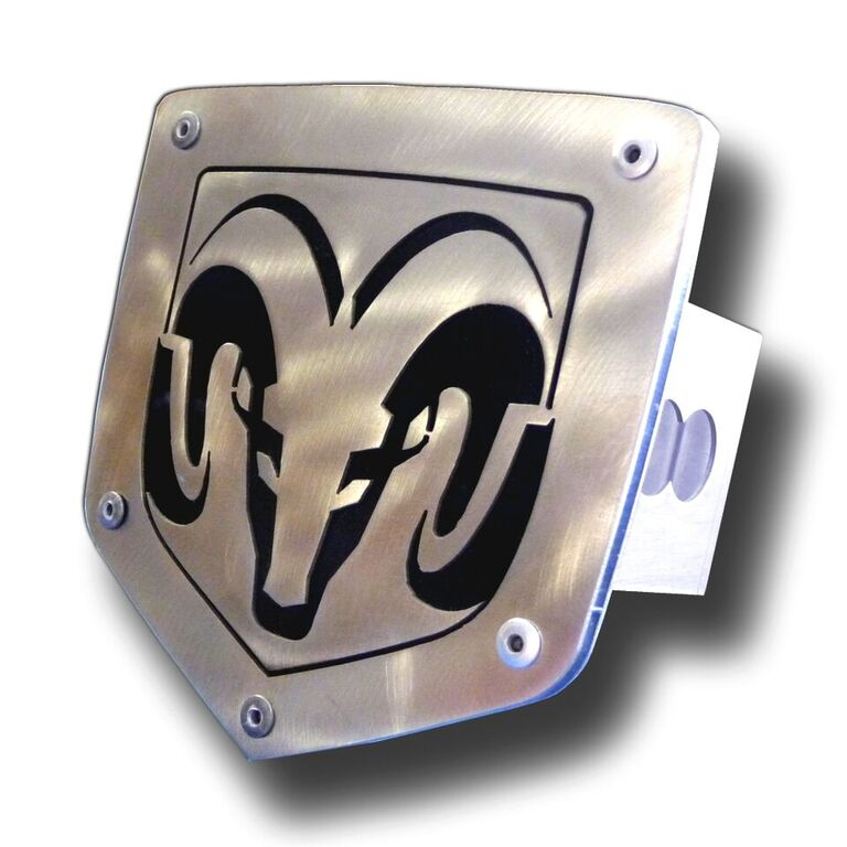 Laser Cut Ram Logo Brushed Stainless Steel Hitch Plug from Automotive Gold