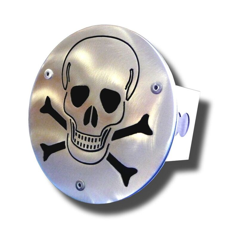 Laser Cut Skull Brushed Stainless Steel Hitch Plug from Automotive Gold