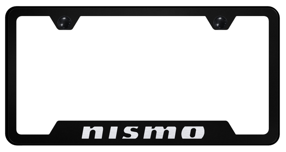 Nissan Nismo Laser Etched Stainless Steel Cut-Out License Plate Frame -  Black from Automotive Gold