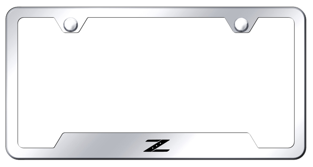 Nissan Z Laser Etched Stainless Steel Cut-Out License Plate Frame -  Black from Automotive Gold