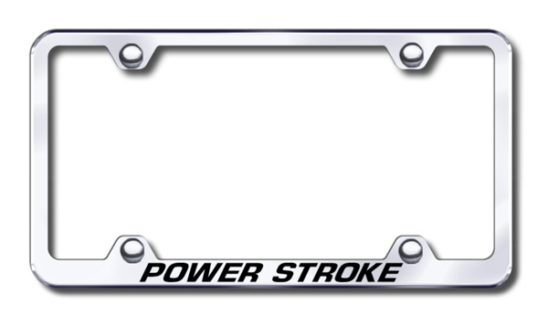 Power Stroke Laser Etched Stainless Steel Wide License Plate Frame from Automotive Gold