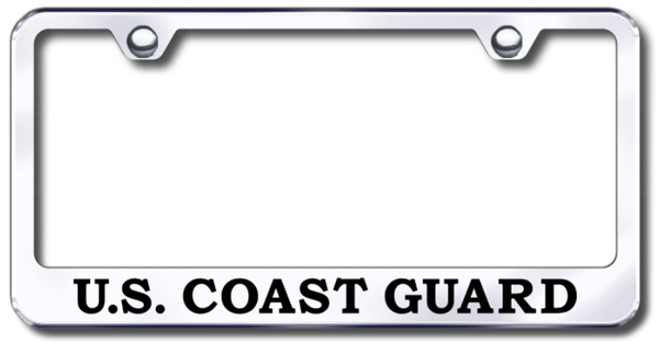 US Coast Guard Laser Etched Stainless Steel License Plate Frame from Automotive Gold