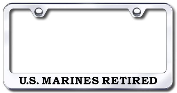 US Marine Corp Retired Laser Etched Stainless Steel License Plate Frame from Automotive Gold