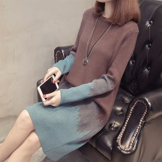 Color Block Long-Sleeve Knit Dress Coffee - XL from Autunno