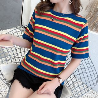 Elbow-Sleeve Striped Knit Top from Autunno