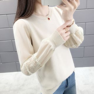 Lace Panel Long-Sleeve Knit Top from Autunno
