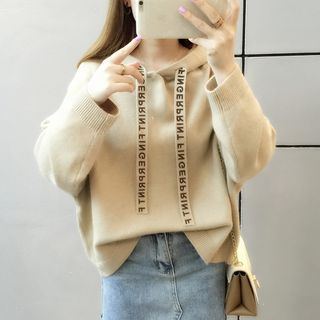 Lettering Drawstring Hooded Sweater from Autunno