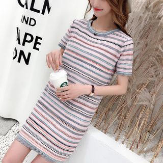 Short-Sleeve Striped Mini T-Shirt Dress from Autunno