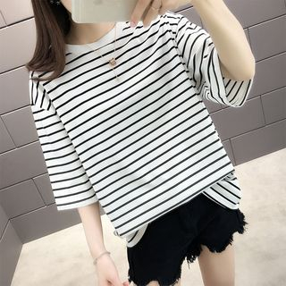 Striped Elbow-Sleeve T-Shirt from Autunno