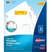 Avery Big Tab White Label Tab Dividers from Avery