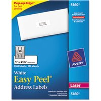 Easy Peel Mailing Address Labels, Laser, 1 x 2 5/8, White, 3000/Box from Avery