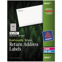 EcoFriendly 100% Recycled Laser/Inkjet Easy Peel Return Address Labels, .5 x 1.75, White, 8000 from Avery