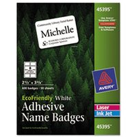 EcoFriendly 100% Recycled Name Badge Labels, 2 1/3 x 3 3/8, White, 400/Box from Avery
