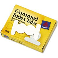 Gummed Reinforced Index Tabs, 1/2 in, White, 50/Pack from Avery