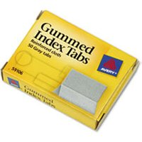 Gummed Reinforced Index Tabs, 1 x 13/16, Gray, 50/Pack from Avery