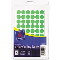 "Handwrite Only Removable Round Color-Coding Labels, 1/2"" dia, Neon Green, 840/PK from Avery"