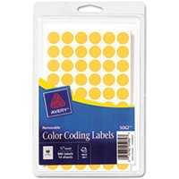 "Handwrite Only Removable Round Color-Coding Labels, 1/2"" dia, Neon Orange,840/PK from Avery"