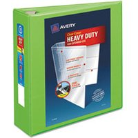"Heavy-Duty View Binder w/Locking EZD Rings, 3"" Cap, Chartreuse from Avery"