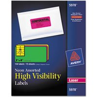 High-Visibility Permanent ID Labels, Laser, 2 x 4, Asst. Neon, 150/Pack from Avery
