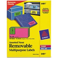High-Visibility Removable ID Labels, Laser/Inkjet, 2 x 4, Asst. Neon, 120/Pack from Avery