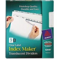 Index Maker Print & Apply Clear Label Plastic Dividers, 5-Tab, Letter, 5 Sets from Avery
