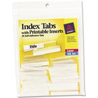 Insertable Index Tabs with Printable Inserts, 1 1/2, Clear Tab, White 25/Pack from Avery